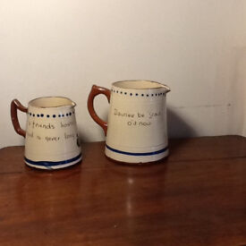 Two Devon Ware Motto Pottery Jugs 2 sizes
