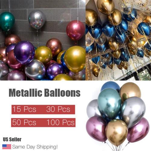 12 inch Metallic Balloons Metal Chrome Shiny Latex Happy Birthday Wedding Party