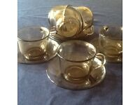 Alcoloc France brown smoked glass cups and saucers