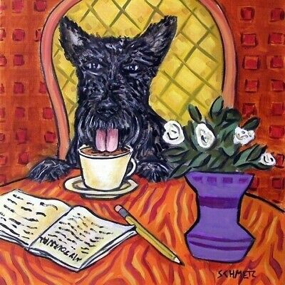 scottish terrier at a cafe COFFEE shop dog art tile coaster tiles coasters gift  ()