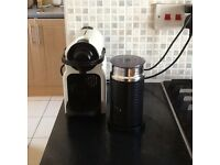 Nespresso coffee machine with frother and taster pack