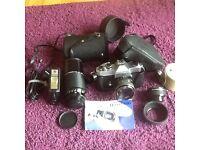 Yashica Single lens reflex camera and vivitar 80-200 telephoto lens