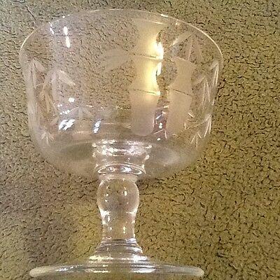 "CRAFTSMAN STEMWARE GRAY CUT GLASS BAMBOO LOW Sherbet (4) 3-1/4""T ANTIQUE"