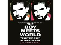 Drake 'Boy Meets World' Tour London O2 - 2 Seated Tickets For Sale!