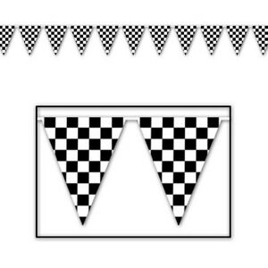 RACING CAR CHEQUERED FLAG SPORTS PARTY BUNTING FLAG BANNER FOR BIRTHDAY PARTIES!