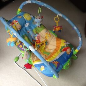 Loverly paddered bouncer that also vibrates with bright animals in excellent condition