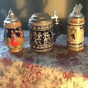 Three German, Bavarian Beer Steins with Lids
