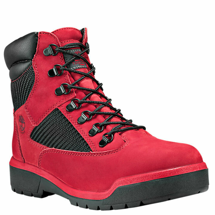 Timberland Men's 6-Inch Waterproof Field Boots Red/Black