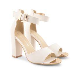Size 6 White Block Heels.