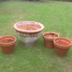 Four Terracotta Garden Pots