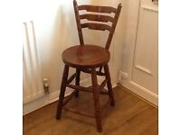 Solid wooden chair/high stool