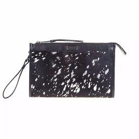 DESIGNER black/silver clutch bag