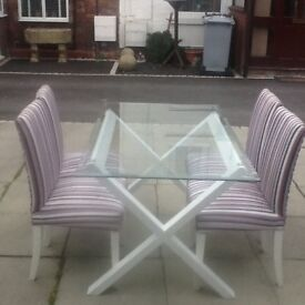 Table and 4 chairs Modern X base with tempered glass