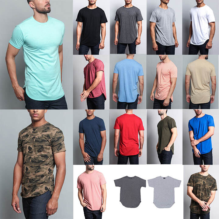 Victorious Men's Hipster Solid Color Long Length Curved Hem