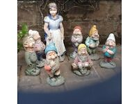 Snow White and Seven Dwarfs concrete garden statues ( SW 1m tall, Dwarfs 60cm) seek family garden.
