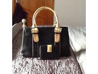 Black/cream leather handbag