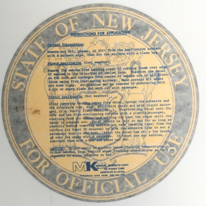 Vintage State Of New Jersey For Official Use NJ State Seal Police Vehicle Decal