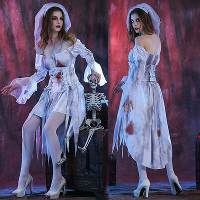 Halloween Costume Corpse Bride Fancy Dress Zombie Bridal Cosplay Ghost Fancy US