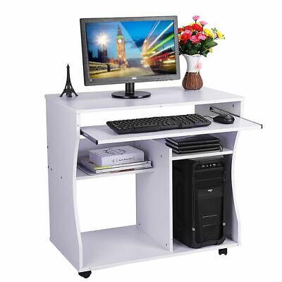 Small Computer Desk Home Office PC Table Workstation Shelves Keyboard Tray White