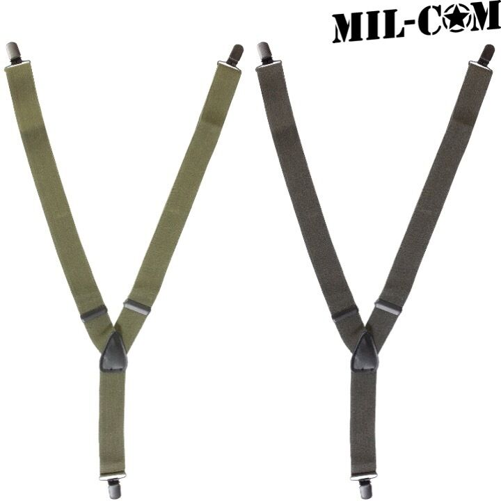 MIL-COM ELASTICATED CLIP ON BRACES MENS ARMY STYLE ADJUSTABLE BLACK OLIVE GREEN