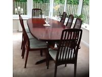 Danish rosewood dining table and 8 chairs