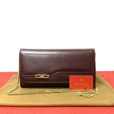 Old Gucci 1970's 2 way Chain Shoulder Crossbody Clutch bag from Japan F/S