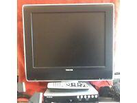 Toshiba portable television plus Freeview box.