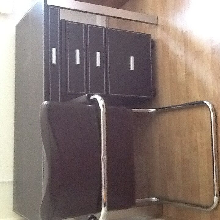 Brown faux leather desk chair and filing cabinet | in Eye, Suffolk ...