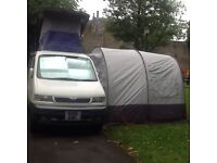 Mazda bongo with awning ten mins to set up two double rooms one in elevating roof other inback
