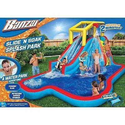 Banzai Slide 'N Soak Splash Park NIB Inflatable Water Slide Bounce Blower Water