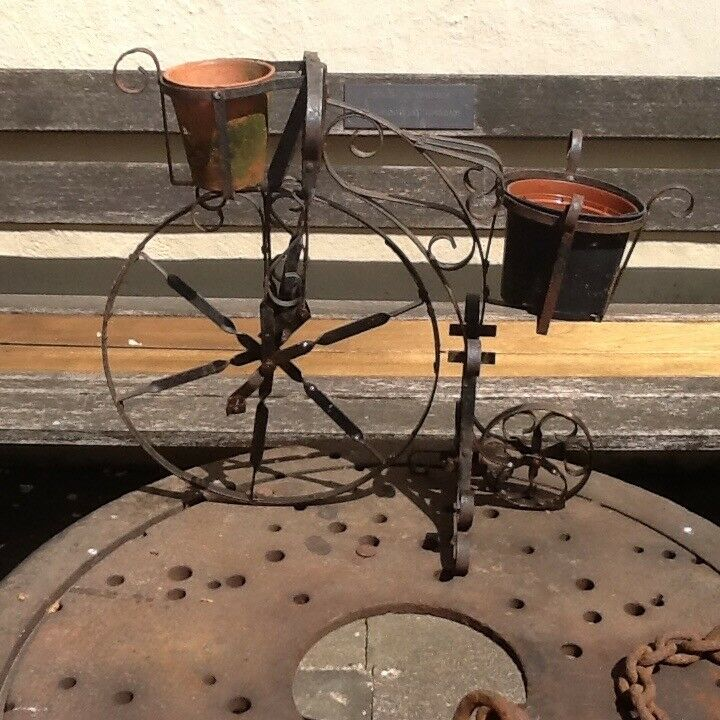Wrought Iron Penny Farthing Novelty Garden Feature In Nottingham