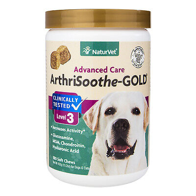 NaturVet ArthriSoothe Dog Cat aches Joint Pain GOLD Lvl 3 Soft Chews 180 ct ()