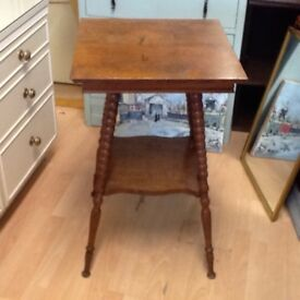 Large oak Victorian plant table