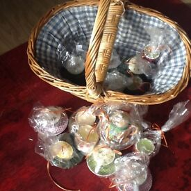 candle inside small cups etc ideal for gifts plus basket