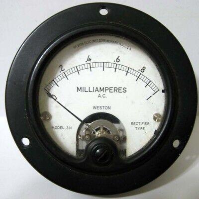 Weston 0 - 1 Ma Amp Ac A.c. Model 301 Round Black Rectifier Type Panel Meter