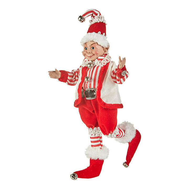 "RAZ Imports 12"" Posable Elf Red White Santa Striped Ornament Christmas NEW"