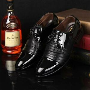 Men's Smart Shoes Casual Leather Pointed Toe Formal Office Work Wedding Shoes