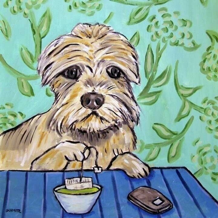 dandie dinmont at the coffee shop dog art tile