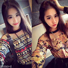 Sexy Women Floral Long Sleeve Casual Pullover Tops Loose Round T-Shirt Blouse
