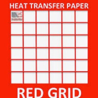 Red Grid Iron-on Heat Transfer Paper For Light Fabrics 8.5 X 11 25 Sheets