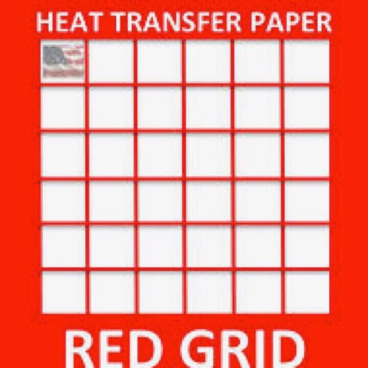 """RED GRID Iron-on Heat Transfer Paper for Light Fabrics 8.5"""" x 11"""" 25 sheets"""