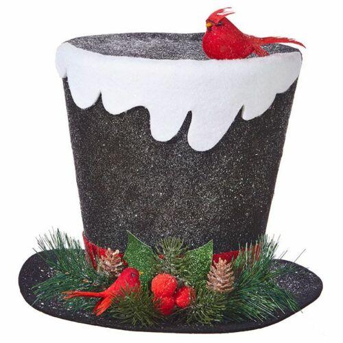 "Raz Imports tree topper black hat Charles Dickens snow cardinal 4016124 11"""