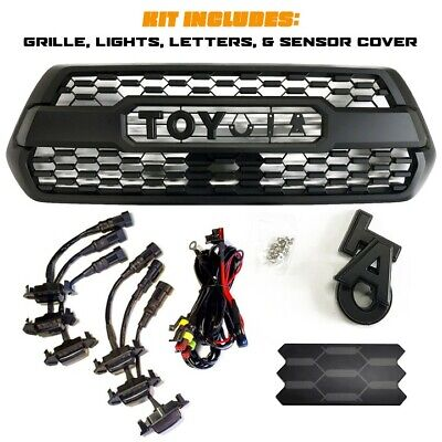 Black TRD Pro Style Grille for 16-21 Toyota Tacoma w/ TSS Sensor Cover & Lights