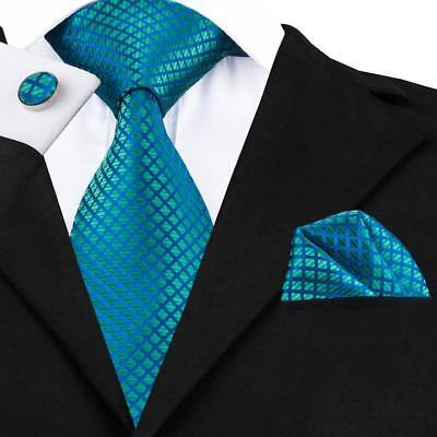 USA Plaid Checks Green Classic Mens Tie Silk Necktie Hanky Cufflinks F&SSN-1610