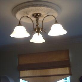 Pair of antique bronze effect ceiling lights