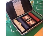 Texas Holdem Poker set , chips, playing cards and mat