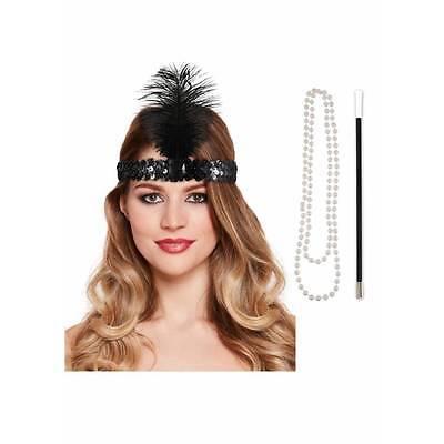 Perlen Flapper Kostüm (Instant Flapper Satz Zigaretten Kopfbedeckung Perlen 1920s Jahre Charleston)