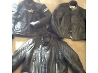 VERY COOL 3 LEATHER WORN MOTORCYCLE JACKETS EXCELLENT CONDITION