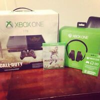 Xbox one 1TB 2controllers 2headsets with games