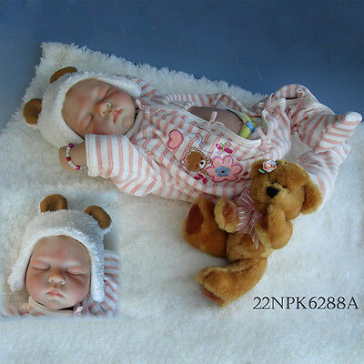Nicery Reborn Baby Doll Soft Silicone Girl Toy 22in. 55cm Sleep White Bear